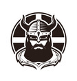viking logo or label warrior in armor vector image vector image