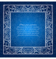vintage border lace invitation card blue mandala vector image