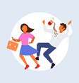 woman knocking man with coffee cup falling down vector image vector image