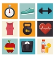 collection fitness sport equipment icons vector image