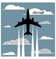 Airplane is flying between the clouds vector image