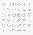 arrow line icons set vector image vector image