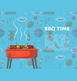 bbq time poster with charcoal grills vector image vector image