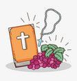 bibble with rosary cross and grape to first vector image vector image