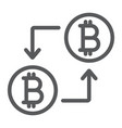 bitcoin transaction line icon money and finance vector image vector image