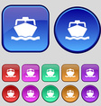 boat icon sign A set of twelve vintage buttons for vector image