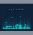 cartagena skyline colombia big city linear vector image vector image