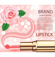 cosmetic background with lipstick rose and smear vector image vector image