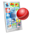 cricket ball flying out cell phone vector image vector image