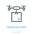 drone delivery line flat icon