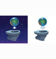 earth flashing in toilet vector image