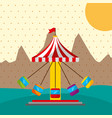 ferris wheel tent city carnival fun fair festival vector image vector image