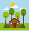forest cottage house natural landscape vector image vector image