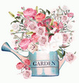 garden blue watering can with pink and white roses vector image vector image