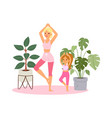 girl practices yoga at home vector image vector image