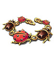 golden bracelet in the form of beetles and vector image
