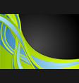 green blue black abstract wavy background vector image