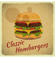 Grunge Cover for Hamburgers Menu vector image vector image