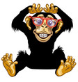 happy cartoon chimp with glasses vector image vector image