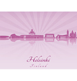 Helsinki skyline in purple radiant orchid vector image vector image