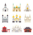 holy religious buildings from all over world set vector image