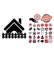 Home Fence Flat Icon with Bonus vector image