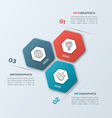 infographic template with hexagons 3 options vector image vector image