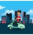 Man riding scooter cartoon vector image