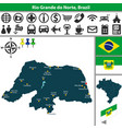 map of rio grande do norte brazil vector image vector image