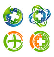 medical cross logo set concept design symbol vector image vector image