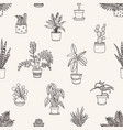 monochrome seamless pattern with potted plants vector image
