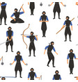 ninja assassin movement and fighting skills vector image