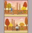 old elderly man reading newspaper in park vector image vector image
