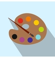 Palette with brush flat icon vector image vector image