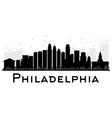 Philadelphia City skyline black and white silhouet vector image