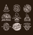 pizza label design typographic set vector image vector image