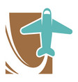 plane that flies up and leaves trace promo emblem vector image vector image