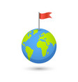 planet and map pins icon earth and colorful flag vector image