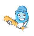 playing baseball oxygen mask character cartoon vector image