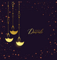 premium golden hanging diya with sparkles vector image vector image