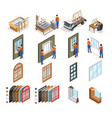 pvc windows production isometric icons vector image