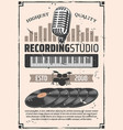 recording studio microphone vinyl discs vector image vector image