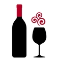 red wine bottle glass and design element vector image