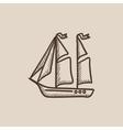 Sailboat sketch icon vector image vector image