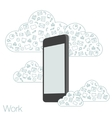 screen mobile phone with flat icons vector image vector image