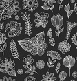 Seamless pattern with chalk flowers vector image vector image
