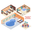 set of isometric spa compositions vector image vector image
