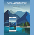 smartphone with mountain landscape on screen vector image vector image