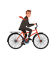 smiling business man riding bicycle to work eco vector image vector image