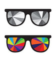 sunglasses black and white and multicolored vector image